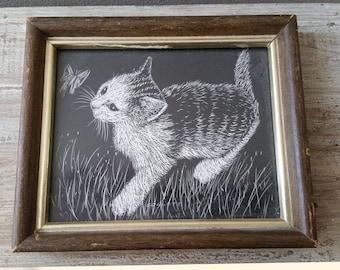 Small vintage framed etched kitten print