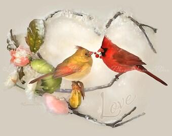 Winter Warmth by Leanne Peters - Cardinal Art - Cardinals - Valentines Day - Love - Bird Art - Winter - Flower Art