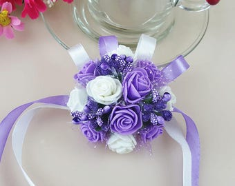 Wrist Corsage Bridesmaid Sisters Hand flowers Artificial Foam Bride Flowers For Wedding Bridal more colors available