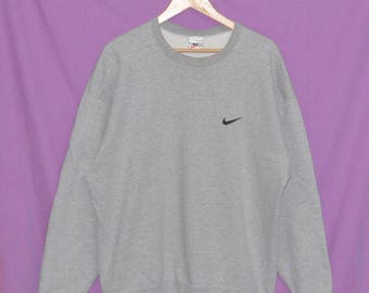 Vintage 90s NIKE Swoosh Pullover Embroidery Small Logo Sweatshirt Sweater Jumper XL Size