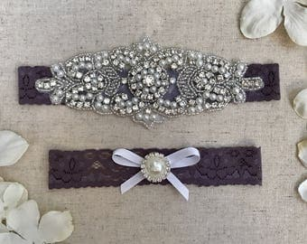 Purple Bridal Garter, pearl NO SLIP Lace Wedding Garter Set, bridal garter set, vintage rhinestones, dusty purple rhinestone garter set,