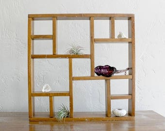 VACATION SALE Wood Shadow Box Display Shelf, Curio Display Cabinet Wall Shelf ,Cubby Shelf Knick Knack Shelf, Shadow Box Shelf Curio Shelf,