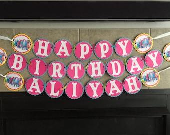 Trolls Glitter Happy Birthday Banner