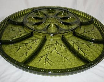 Vintage Indiana Glass Avocado Green Tree of Life Deviled Egg Relish Plate Tray