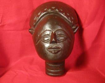 Antique Wooden African Bust Vintage 1940's