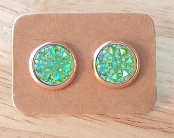 10mm Druzy Earrings, Faux Green Druzy Earrings, Rose Gold Plated Earrings, Gold Plated Studs, Green Druzy, Druzy Studs, Christmas Gift