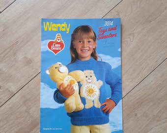 Wendy Care Bears Knitting Pattern 3014, Care Bears Toys and Sweaters Knitting Pattern by Joy Gammon