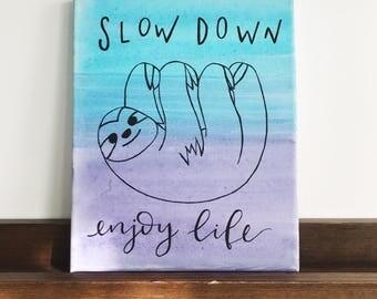 SLOTH CANVAS PAINTING | Nursery and Kid's Room Cute Sloth Art, Nursery Painting