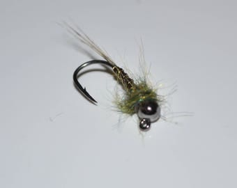 3 Jig Style Tungsten Torpedo Nymphs. Trout Flies. Fly Fishing. Flies. Nymphs. Homemade.