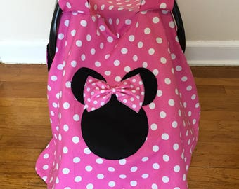 Minnie Mouse Car seat Canopy- Basic NO NAME,car seat canopy girl, Minnie Mouse canopy cover, Minnie Mouse fabric, polka dot