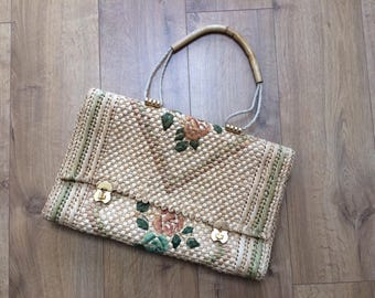 Vintage Large Woven Fiber, Seagrass  Shoulder, Top Handle Bag with Embroidered Raffia Flowers, Roses -'Made Especially for Harmony'