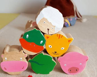 "Set of 6 ""I love nature!"" - wooden beads Mastro toys"