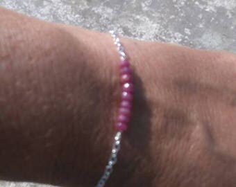 Ruby Gemstones with 925 Sterling silver chain and toggle Clasp