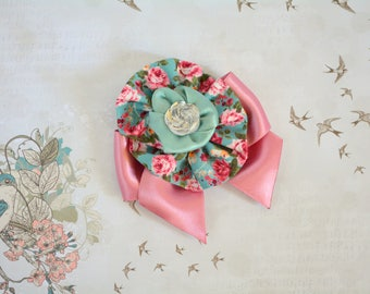 Fancy cat bow  - vintage style floral bow with rose cat collar