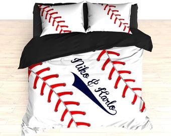 Baseball Stitches Bedding Comforter Stitch Duvet Custom Navy Blue