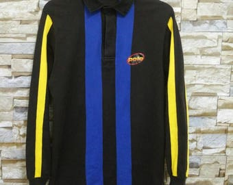 Polo Sport Ralph Lauren Striped Long Sleeve Rugby Shirt Vintage 90's