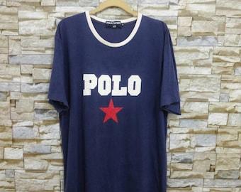 90's Vintage Polo Sport Ralph Lauren Shirt Big Logo Polo T-Shirt Large