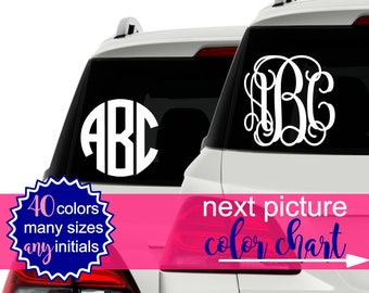 Car Stickers Monogram Vinyl Decal, Monogram Car Decal Monogram, Circle Monogram Decal, Vine Monogram Decal, Monogram Sticker for Car CDMG1A
