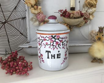 Antique storage jar 'The', enamel, shabby