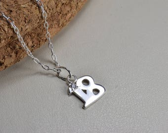 Sterling Silver, 18th birthday necklace, birthday gift