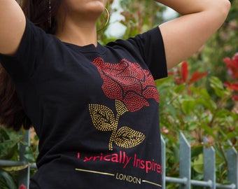 Round Neck Love Themed Rose Sparkly Rhinestones Design Made By Lyrically Inspired Clothing