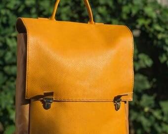 Mustard yellow Italian leather everyday laptop backpack
