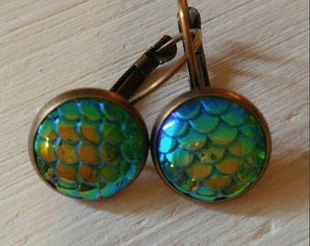 Mermaid scale earrings/Dragon scale earrings/boho chic earrings