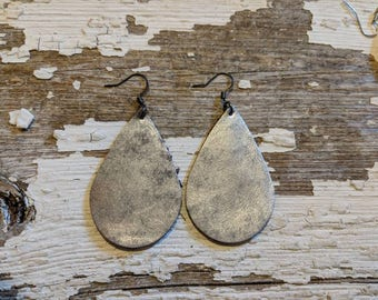 Chrome Look Leather Earrings/Leather Statement Earrings/Boho Jewelry/Gift For Her