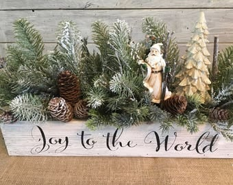 Joy to the World Floral Arrangement in Wooden Box, Christmas Centerpiece, Holiday Arrangement, Santa Arrangement, Winter Decor
