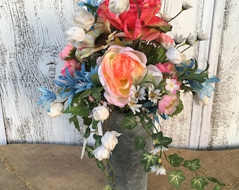 Spring Arrangement in a Galvanized Tin, Wedding Centerpiece, Summer Arrangement, Mother's Day, Easter, Year Round Arrangement