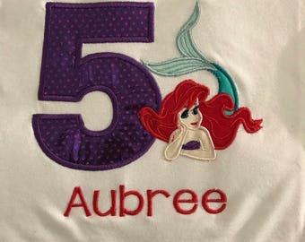 Little Mermaid Birthday t-shirts any Age  Embroidered