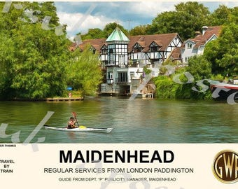 Vintage Style Railway Poster Maidenhead A3/A2 Print
