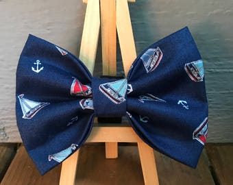 MINI ONLY*** Sailboats and Anchors Dog Bow Tie