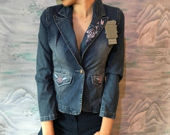 Embroidery patches (you can buy from Wish, Joann Fabrics, Etsy, etc. – Denim  Jacket – Thread in coordinated colors – 16/100 needle for sewing machine  (YOU ...