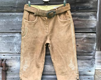 Bavarian Pants 80s Authentic Suede Leather Oktoberfest Folklore Moss/Womens Sand Brown Hammerschmid Trachten Tyrol Austrian Alpine sz Medium