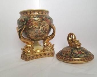 Vintage Satsuma Style Covered Urn
