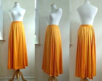 "knife pleats wrap skirt 70s rayon & wool midi skirt 1970s henry grethel designer skirt boho creamy orange pleated skirt womens xs 26"" waist"