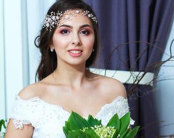 Bridal Wreath Rose, Wedding Wreath, Bridal Tiara, Diadem, Pearls Wedding Headband, Bridal Headpiece, Bridal Flora Wreath, Flowers Headpiece