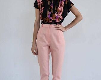 High Waisted Linen Pants /Pink Pants/ Vintage Pants / High Waist Trousers / Vintage Trousers / High Waist Pants/ Linen Pants/ Pleated Pants
