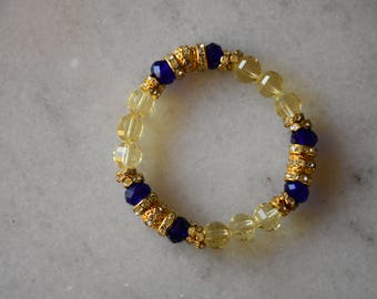 Blue and Yellow Sigma Gamma Rho Sorority Bracelet