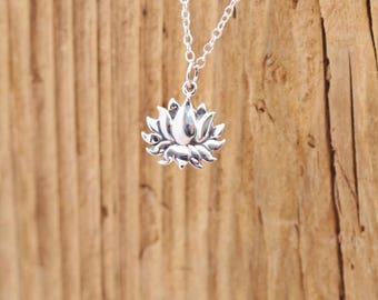 Sterling Silver Lotus Blossom Flower Charm Pendant Yoga Necklace