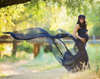 Slim Fit Maternity Gown for Photo Shoot-Long Maternity Dress-Fitted Maternity Dress for Baby Shower-Sheer Pregnancy Dress-Maxi Gown