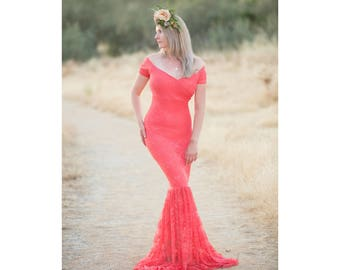 Short Sleeve Maternity Gown-Lace Maternity Gown-Long Maternity Gown-Mermaid Gown-Maxi Gown-Sweetheart Maternity Dress-Baby Shower Dress