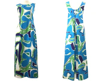 Vintage 1960s 1970s Aloha Graphic Print  Hawaiian Dress Vintage Womens Dress Mumu Maxi Dress Bark Cloth