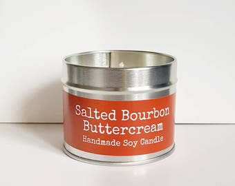 Scented soy candle, Salted Bourbon Buttercream, vegan candle, soy wax candle, sweet scented candle, gift for her, home decor, travel candle