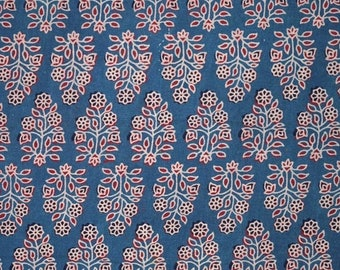 10% Off On Blue and Pink Ajrakh Work Leaves Hand Block Print Cotton Fabric by the Yard