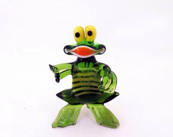 Glass frog figurine animals glass frog sculpture art glass toy murano frog animals tiny small frog gift animals figures toys