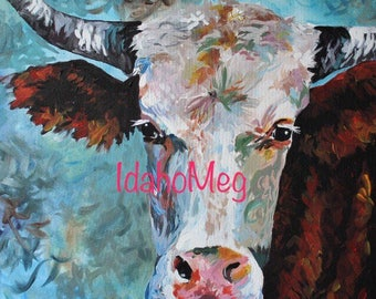 TEXAS LONGHORN PRINT 16x16 from original painting. cow art, cow painting,