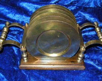 6 Brass coaster with wooden stand + brass-coaster-70s