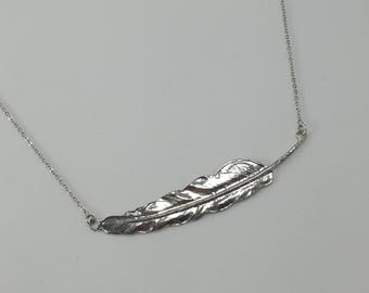 Feather Necklace, Minimalist Silver Feather Necklace, Statement Necklace, Layering Necklace